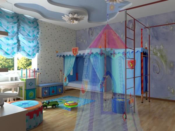 Детская для мальчика, второй этаж вид на кровать