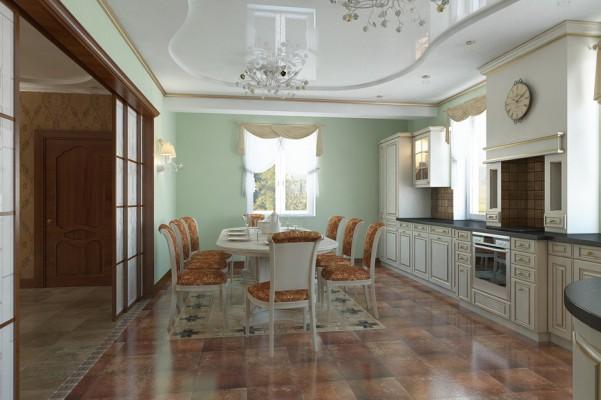 Кухня, первый этаж, вид от двери