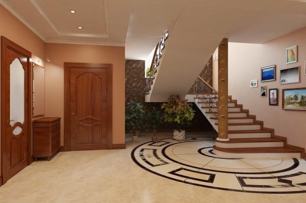 Холл, первый этаж вид на лестницу