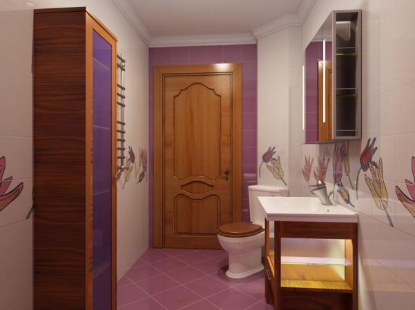 Ванная комната, первый этаж вид от стены