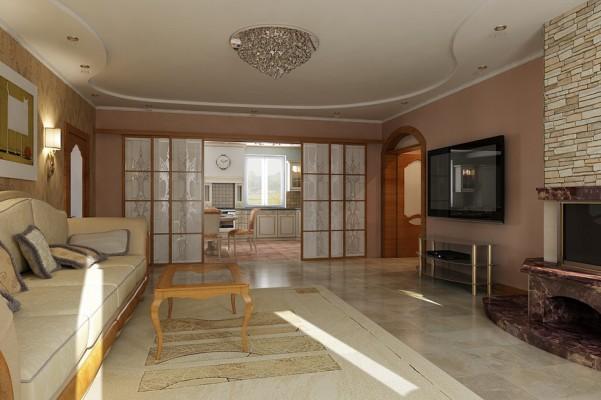 Гостиная комната, вид на кухню