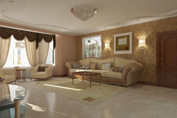 Гостиная комната, вид на диван