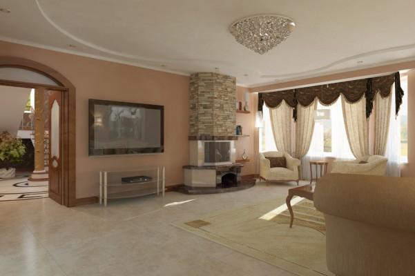 Гостиная комната, вид на камин